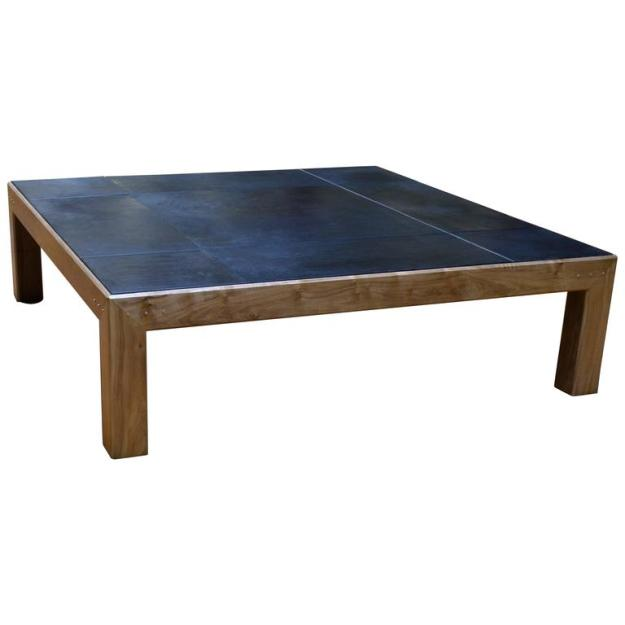 modern style abuelo coffee table in walnut w/ hand-dyed saddle