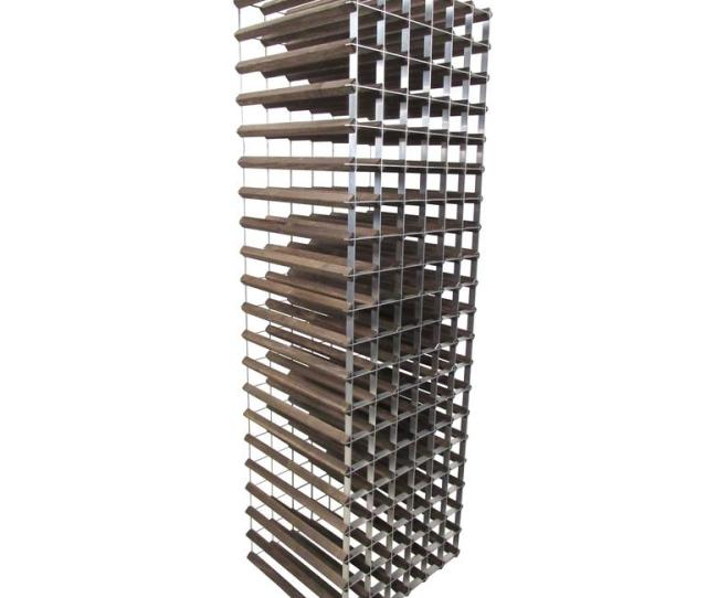 Stylish Mid Century Modern Style Wood And Metal Wine Rack For Sale