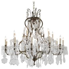 Large French Bronze And Crystal Chandelier With 18 Lights
