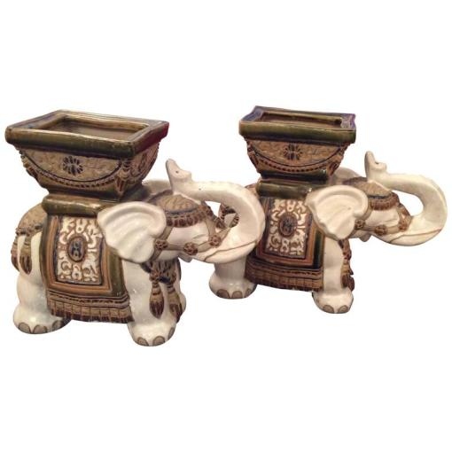 Pair of Italian Neoclassical Painted Terra Cotta Planters For Sale     Pair of Vintage Terra Cotta Elephant Garden Pots  Planters Stands