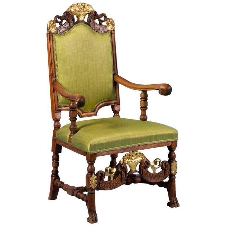 Carved Antique 19th Century Norwegian Upholstered Armchair