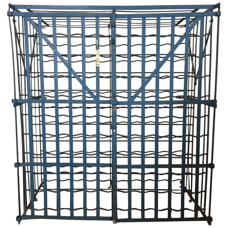 french strap metal industrial rigidex 100 bottle wine rack cage