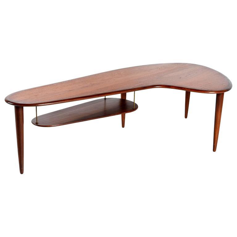 mid century modern danish teak boomerang coffee table 1950s