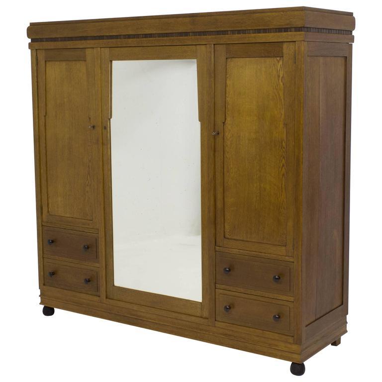 stunning art deco amsterdam school wardrobe or armoire 1920s for sale