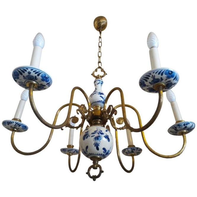 Charming French Provincial Chandelier In Faience De Rouen 1