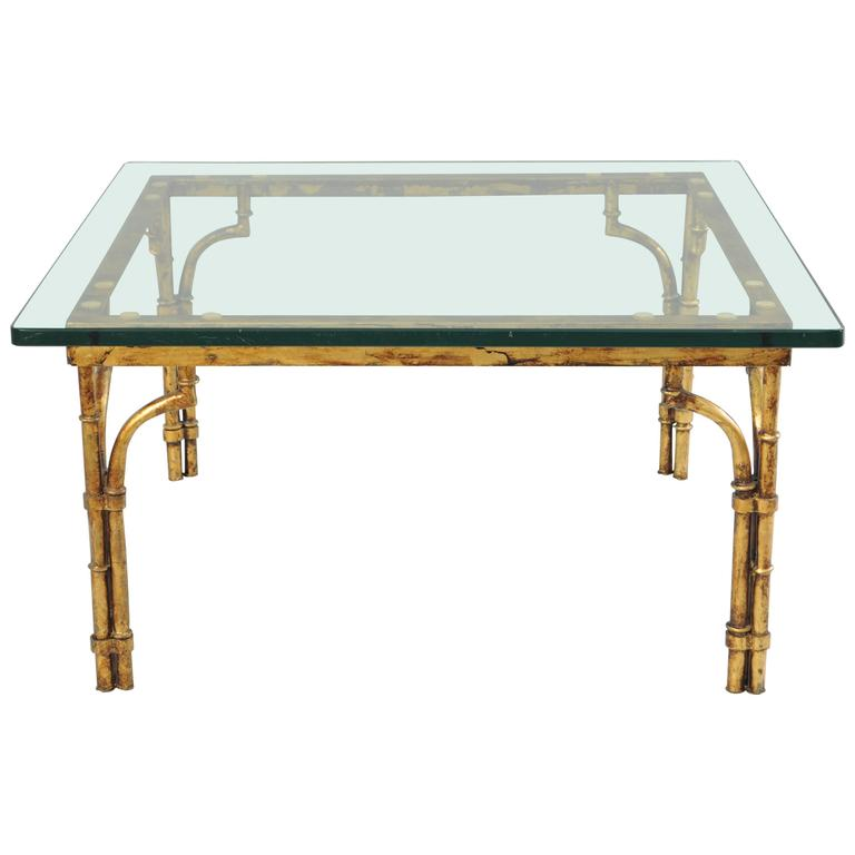 italian gold gilt iron and glass faux bamboo metal square coffee table vintage