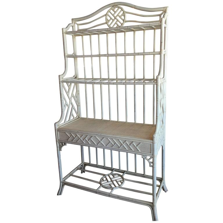 hekman rattan chinese chippendale bakers rack cabinet etagere wicker