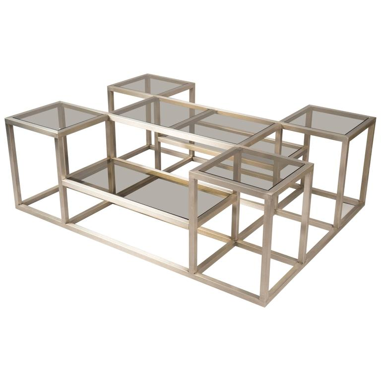 steel multi level structured coffee table france 1970s