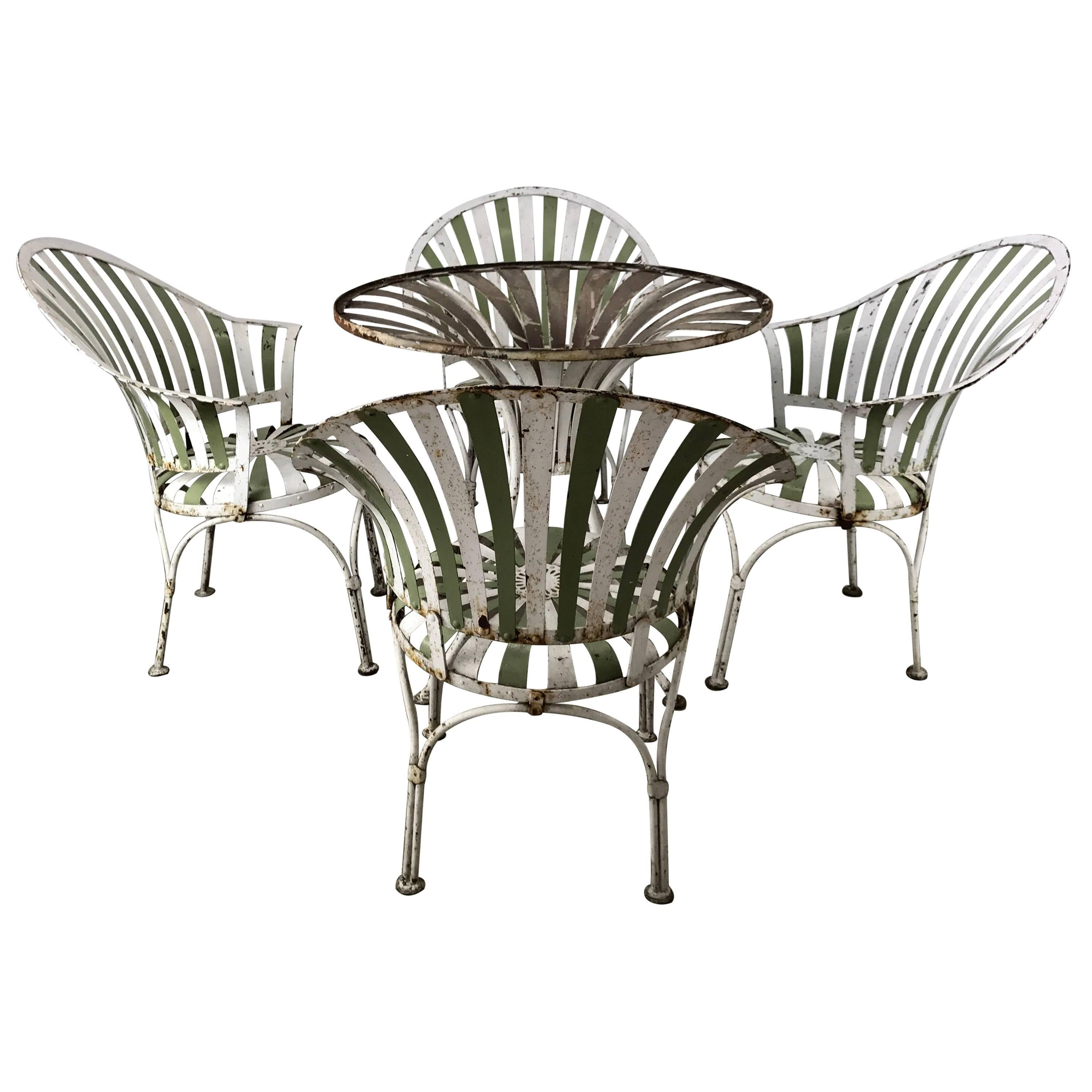 1930s Art Deco Metal Fan Back Garden Set Table And Chairs By Francois Carre For Sale At 1stdibs