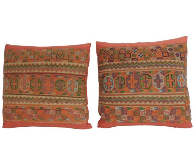 Pair Of 19th Century Woven Turkish Orange Decorative Pillows For Sale