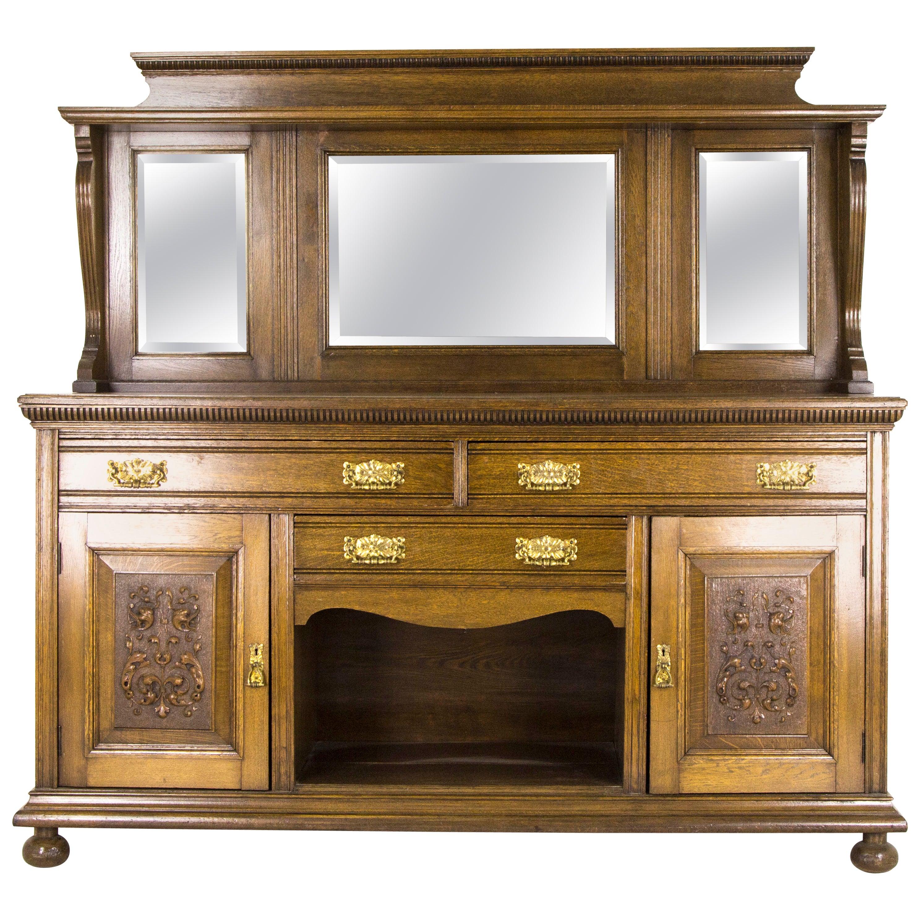 Antique Oak Sideboard Victorian Oak Buffet Mirror Back Sideboard 1890 B795 At 1stdibs