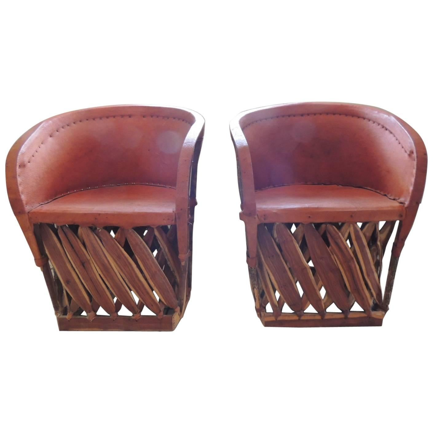 Set Of Two Mexican Equipale Wood And Leather Chairs For