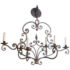 French Six Light Scroll Work Wrought Iron Chandelier