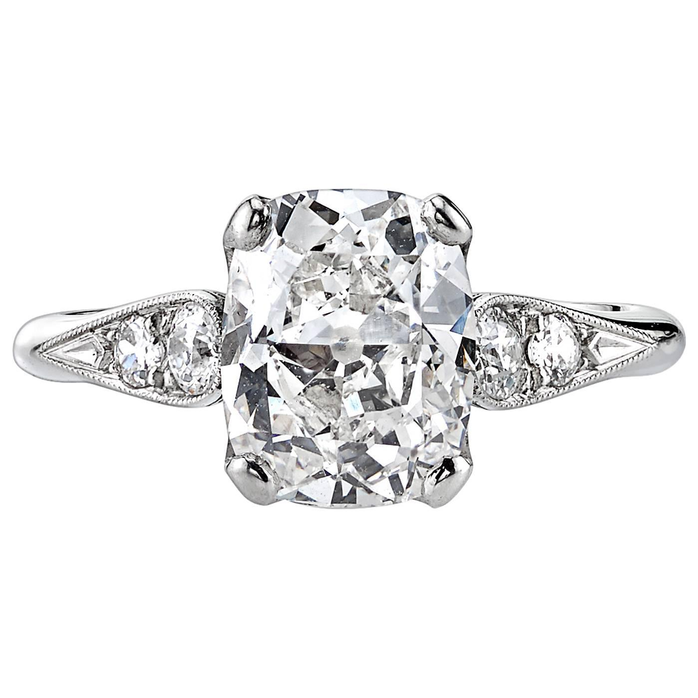 2 33 Carat Cushion Cut Diamond Platinum Engagement Ring