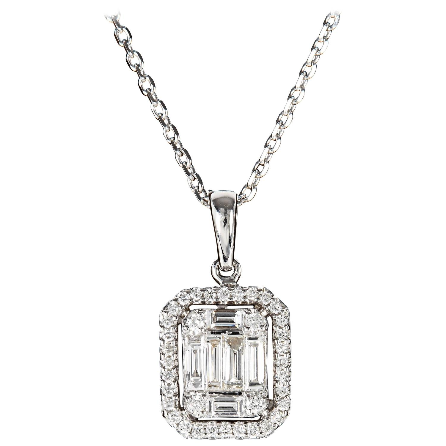 Illusion Emerald Cut Diamond Gold Pendant For Sale At 1stdibs