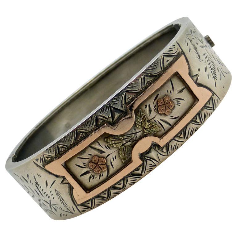 Victorian Sterling Silver Rose Gold Bangle Bracelet For