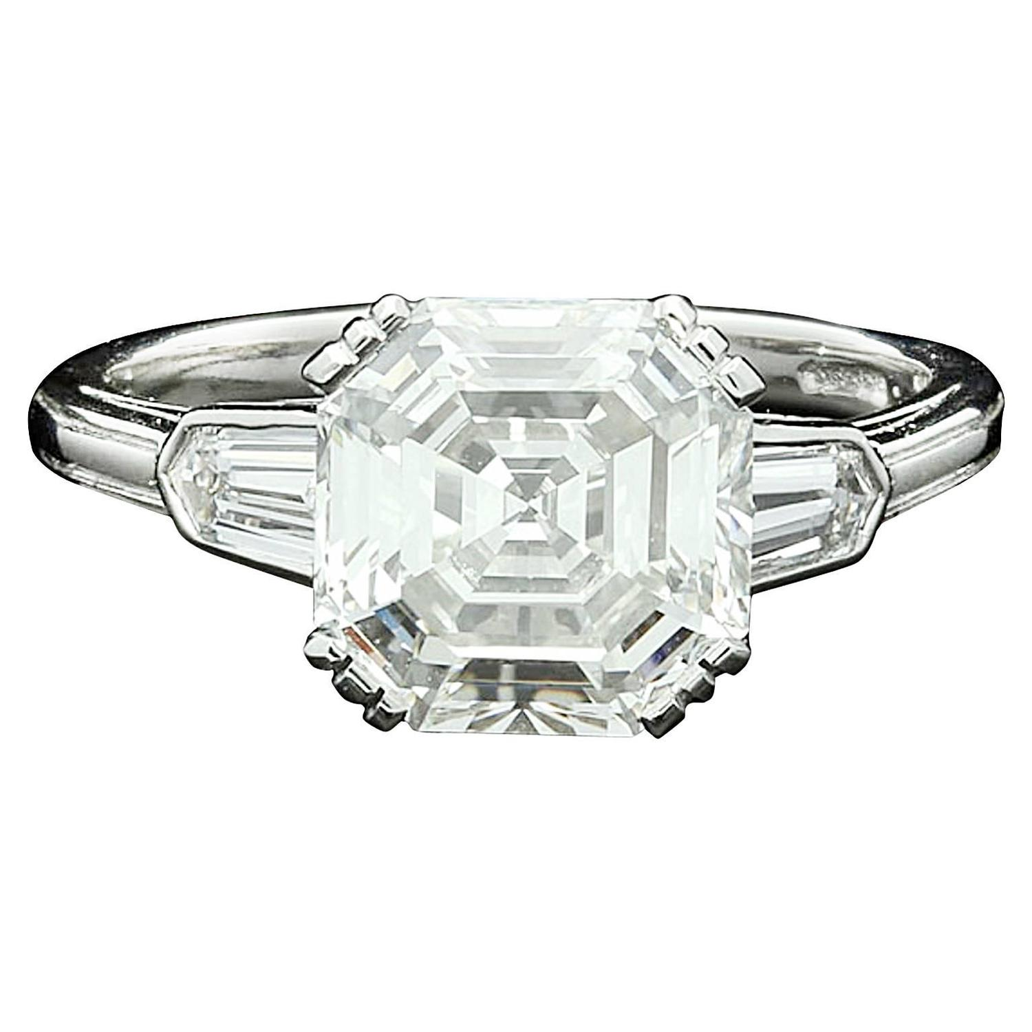 3 07 Carat Asscher Cut Diamond Solitaire Ring With Bullet