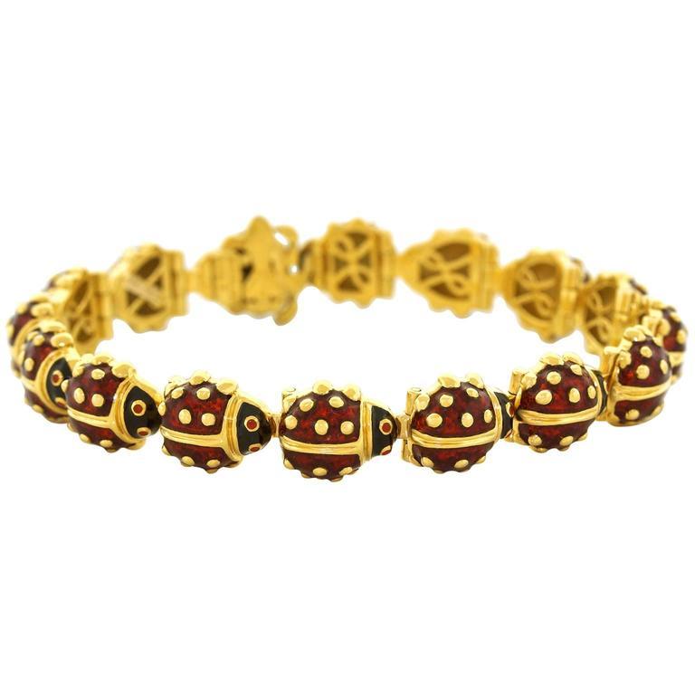 Hidalgo Enamel And Gold Ladybug Bracelet For Sale At 1stdibs
