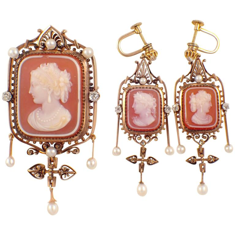 Victorian Cameo Diamond Gold Brooch And Earring Set At 1stdibs