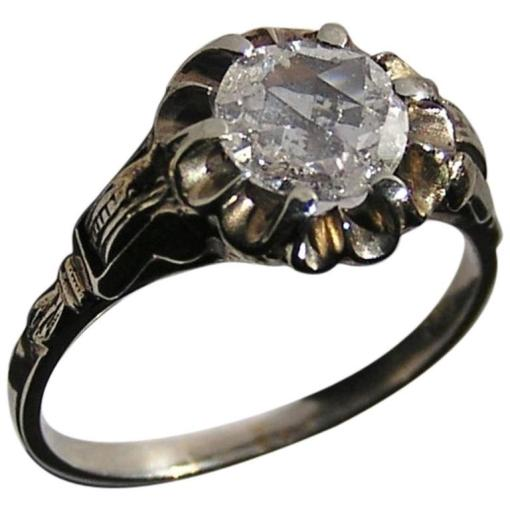 Engagement Ring White Gold Rose Cut Diamond 1920s at 1stdibs Engagement Ring White Gold Rose Cut Diamond 1920s For Sale