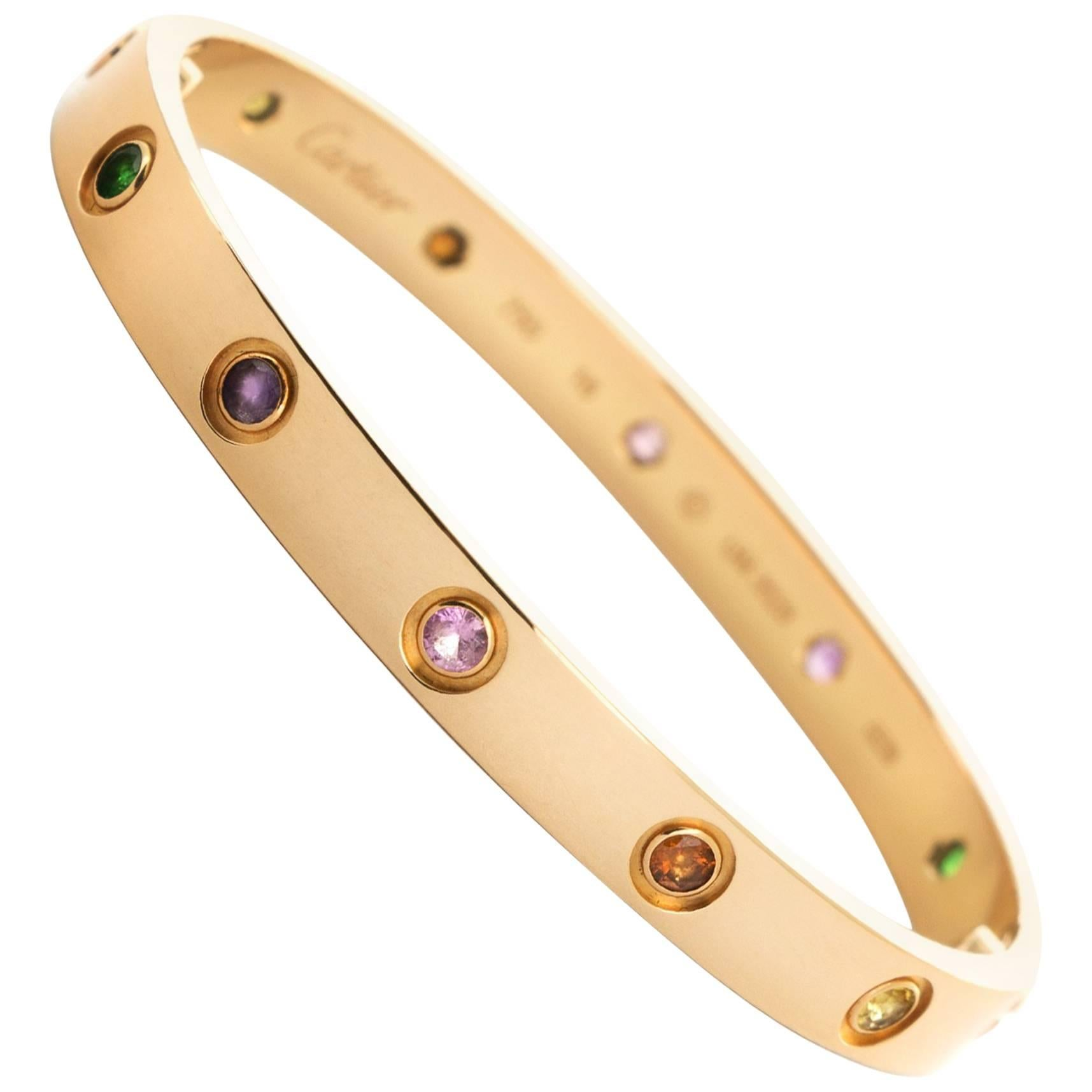 Cartier Rose Gold Love Bracelet Multi Color Rainbow Bangle Bracelet     Cartier Rose Gold Love Bracelet Multi Color Rainbow Bangle Bracelet For Sale