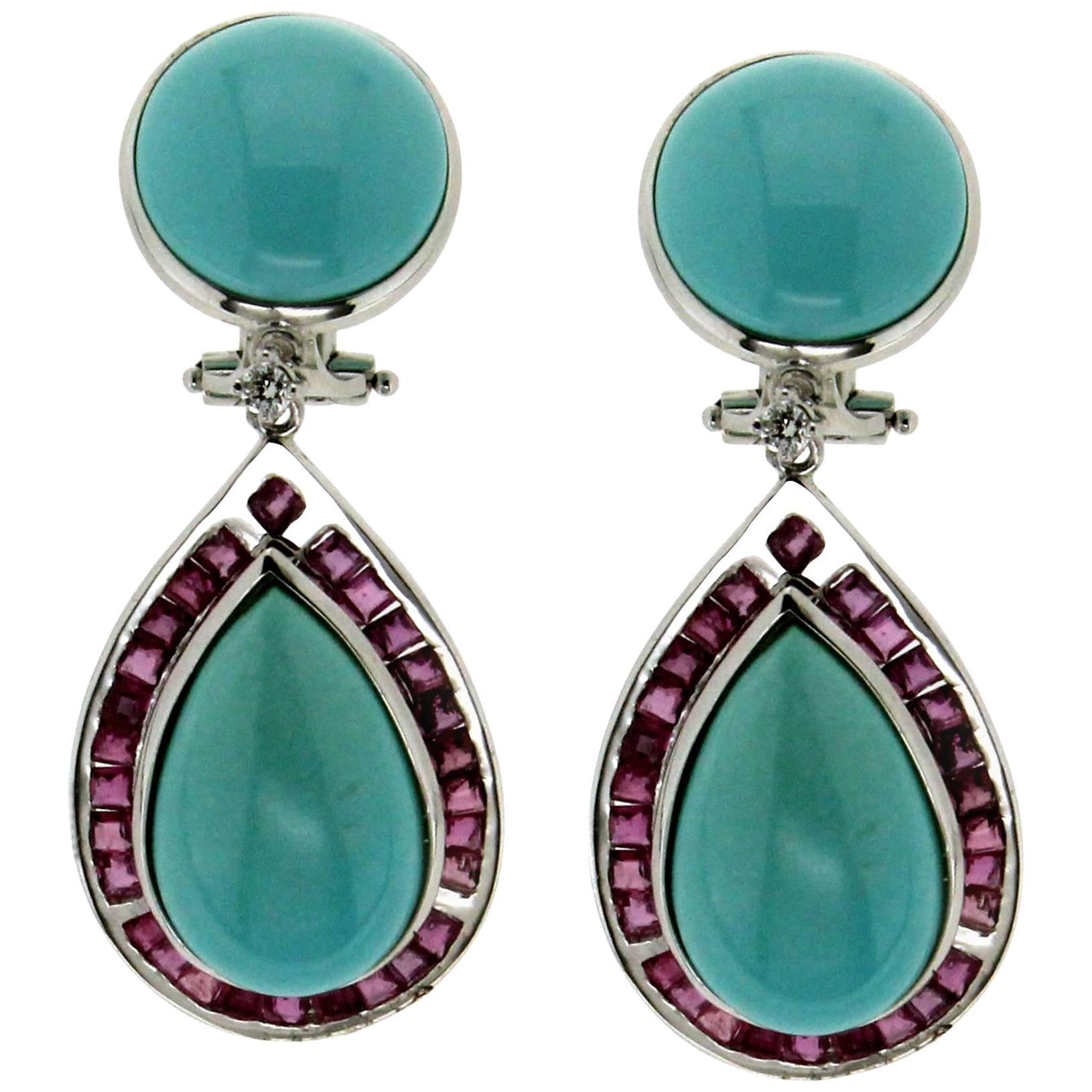 Georgian Turquoise Gold Regency Drop Earrings For Sale at ...