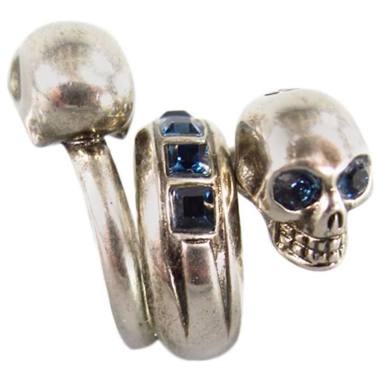 ALEXANDER MCQUEEN Silver Tone Metal Wrap Blue Crystal