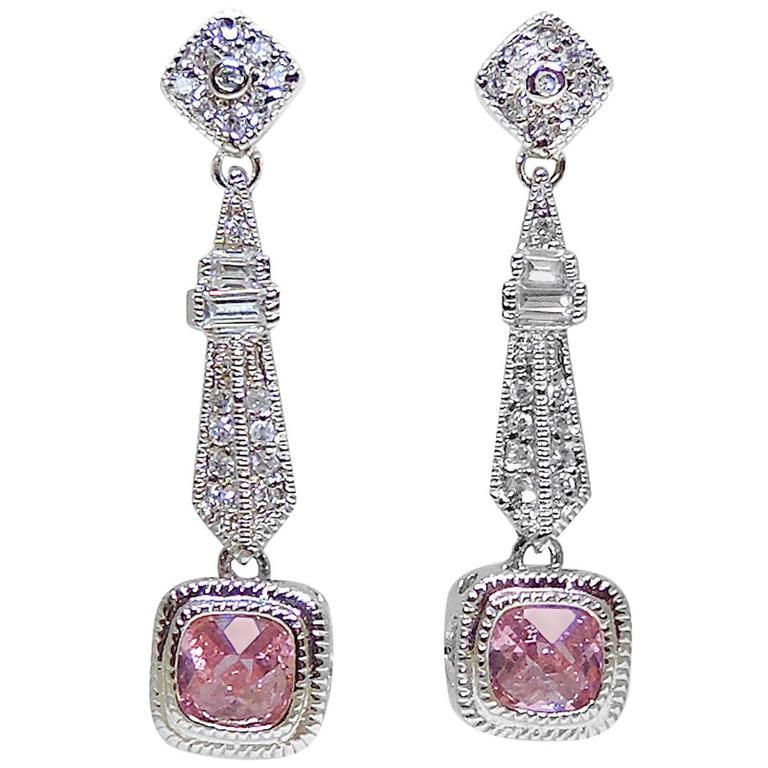 Vintage Pink Crystal Sterling Silver Drop Earrings At 1stdibs