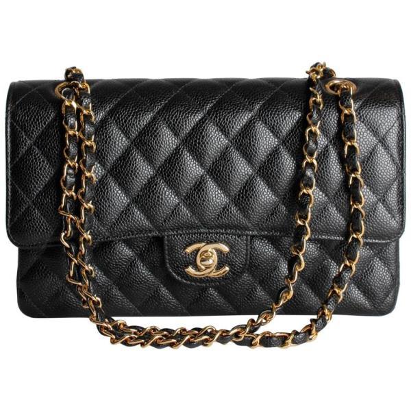 Chanel 2.55 Caviar Medium Classic Double Flap Bag - black ...