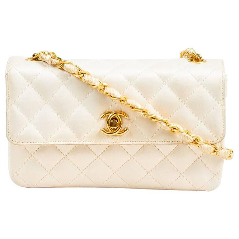 Vintage Chanel Cream Gold Tone Satin Quilted Woven Chain