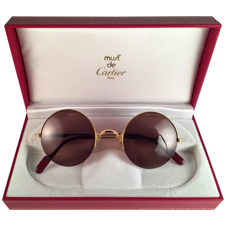 Cartier Vitesse Vintage Sunglasses at 1stdibs New Cartier Mayfair Round Half Frame Gold 47mm Brown Lens France Sunglasses