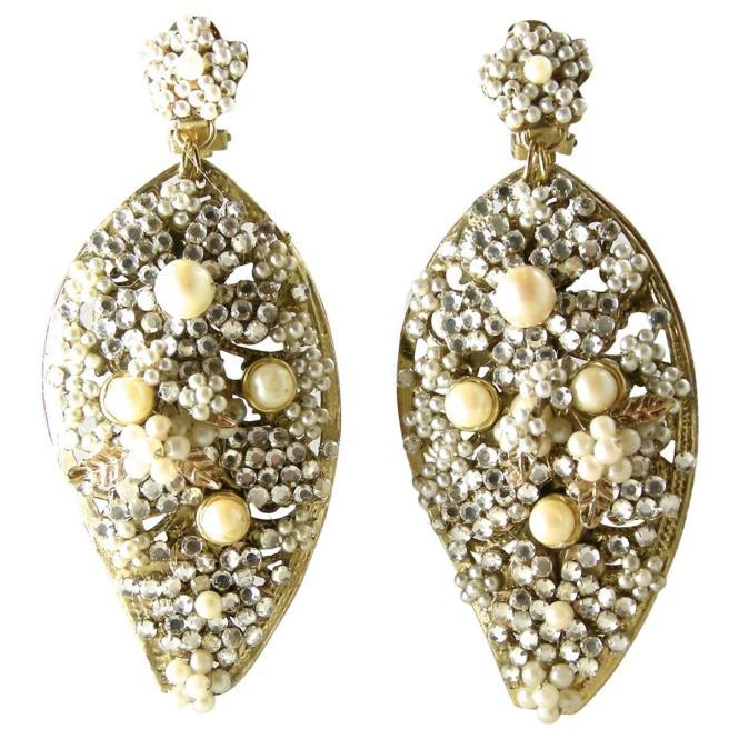 Vintage Demario Faux Pearl Chandelier Earrings For