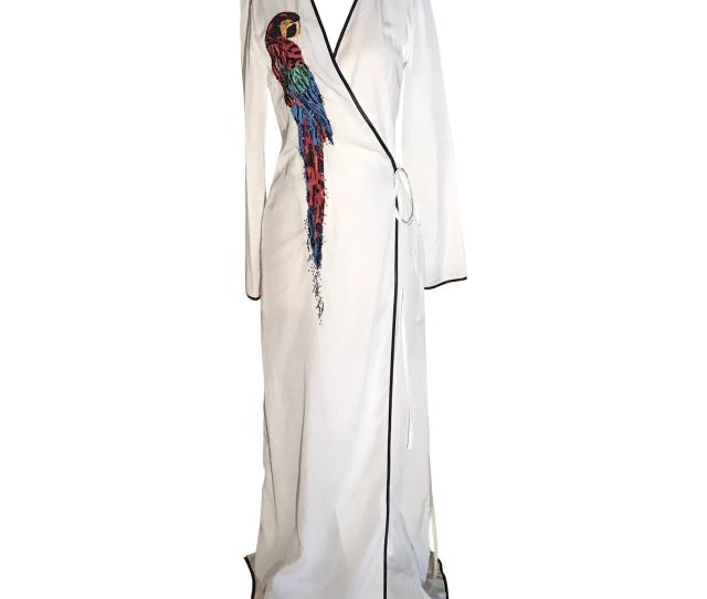 Attico Parrot Embellished White Wrap Maxi Dress For Sale
