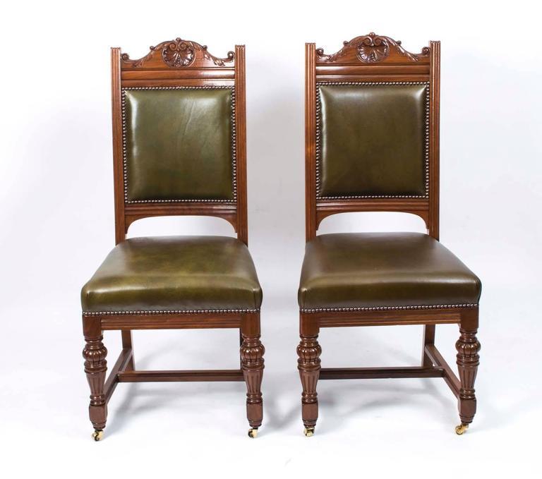Antique Set Of 16 Victorian Walnut Dining Chairs Circa