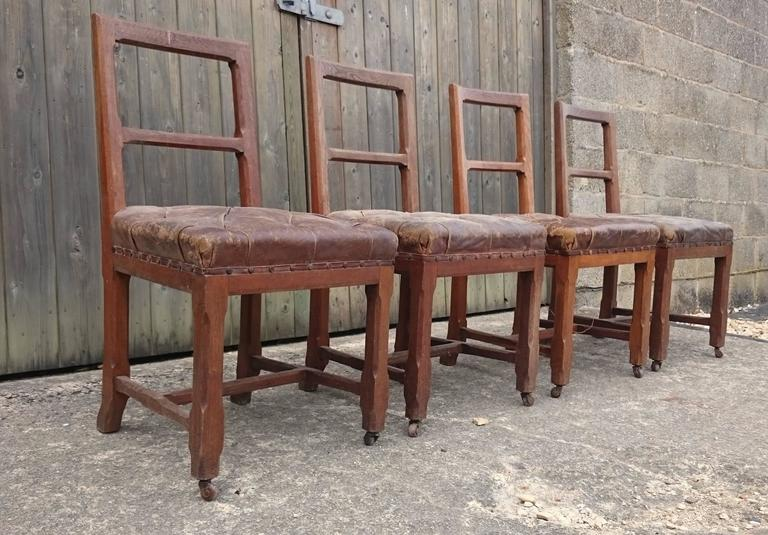 Original Leather Oak Gothic Revival Set Of Four Chairs For