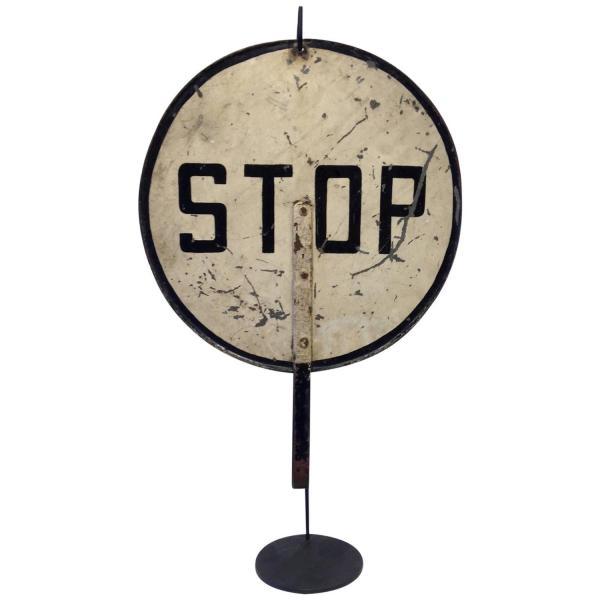 Vintage Painted Metal Hand-Held Stop Sign C. 1940s at 1stdibs