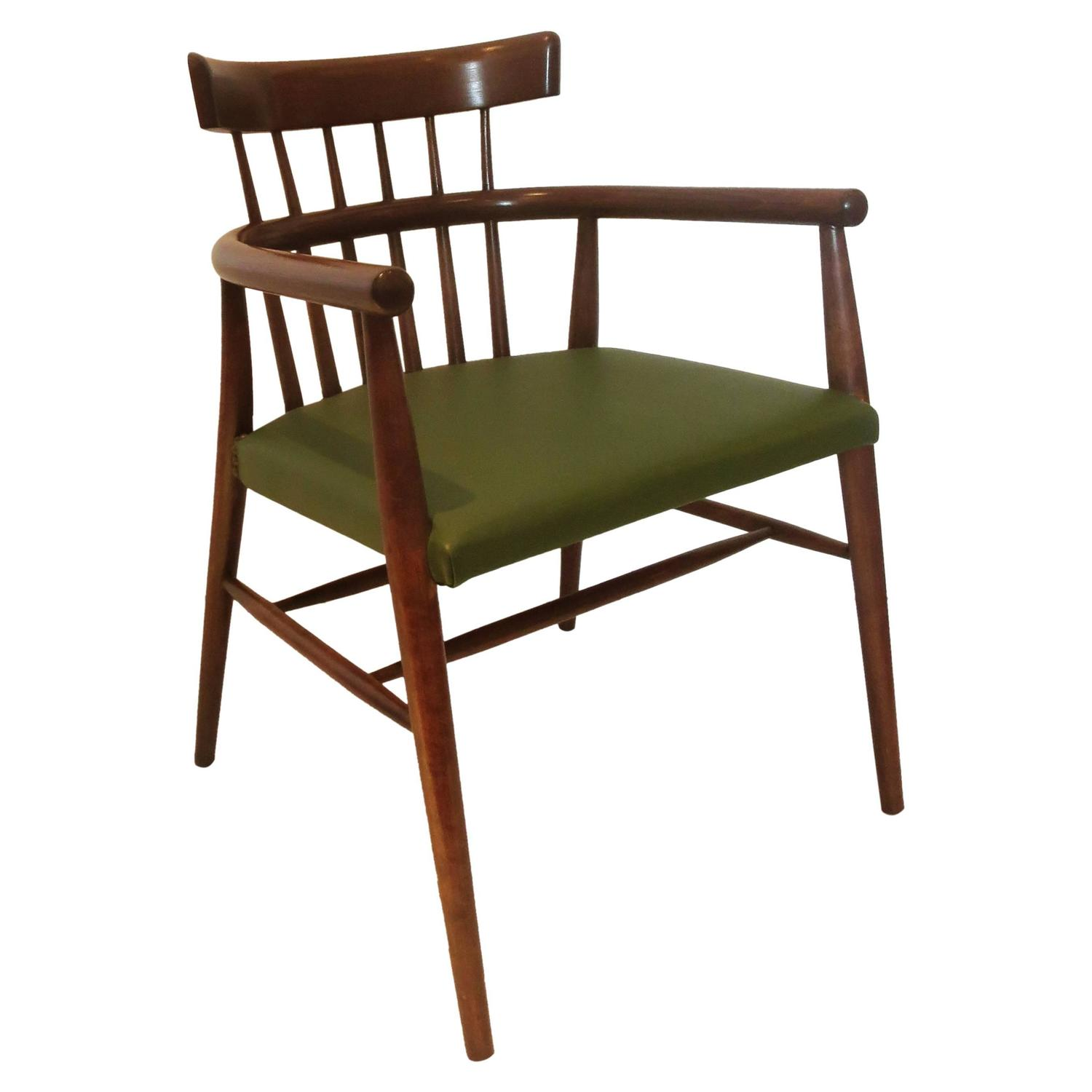 Danish Modern Windsor Style Spindle Back Armchair In Leather Seat At 1stdibs
