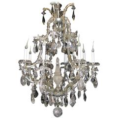 Antique French Baguès Style Rock Crystal And Chandelier
