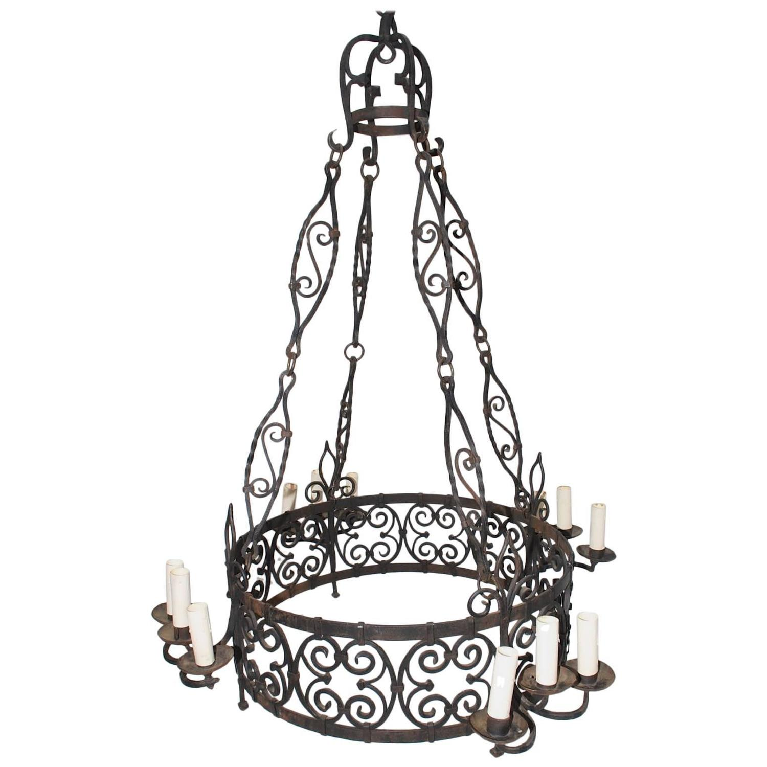 Large French Wrought Iron Chandelier For Sale At 1stdibs