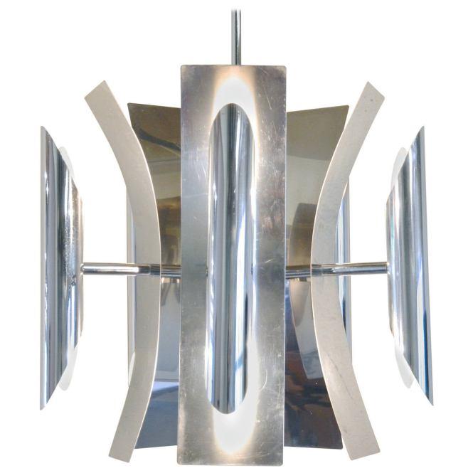 Italian Mid Century Modern Chrome Chandelier For