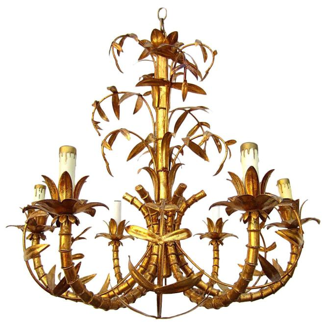 Hollywood Regency Gold Gilded Faux Bamboo Chandelier Tole Italy 1950s 1