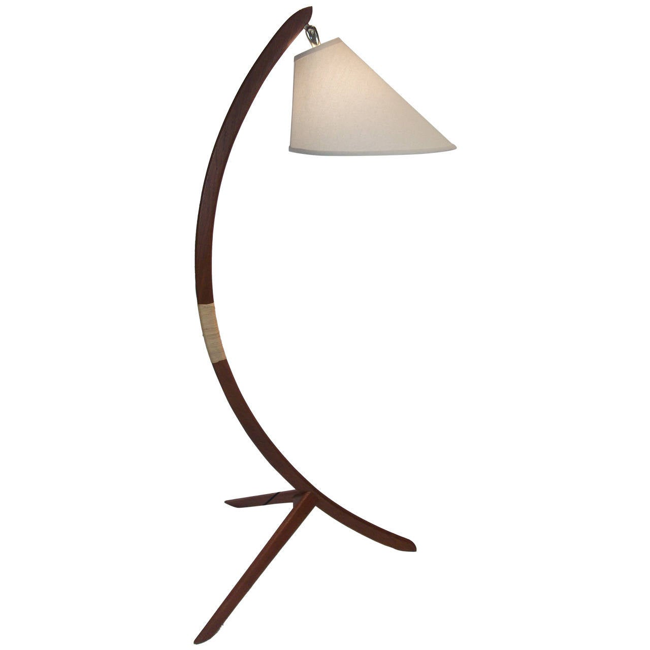 Mid Century Modern Three Leg Teak Floor Lamp At 1stdibs