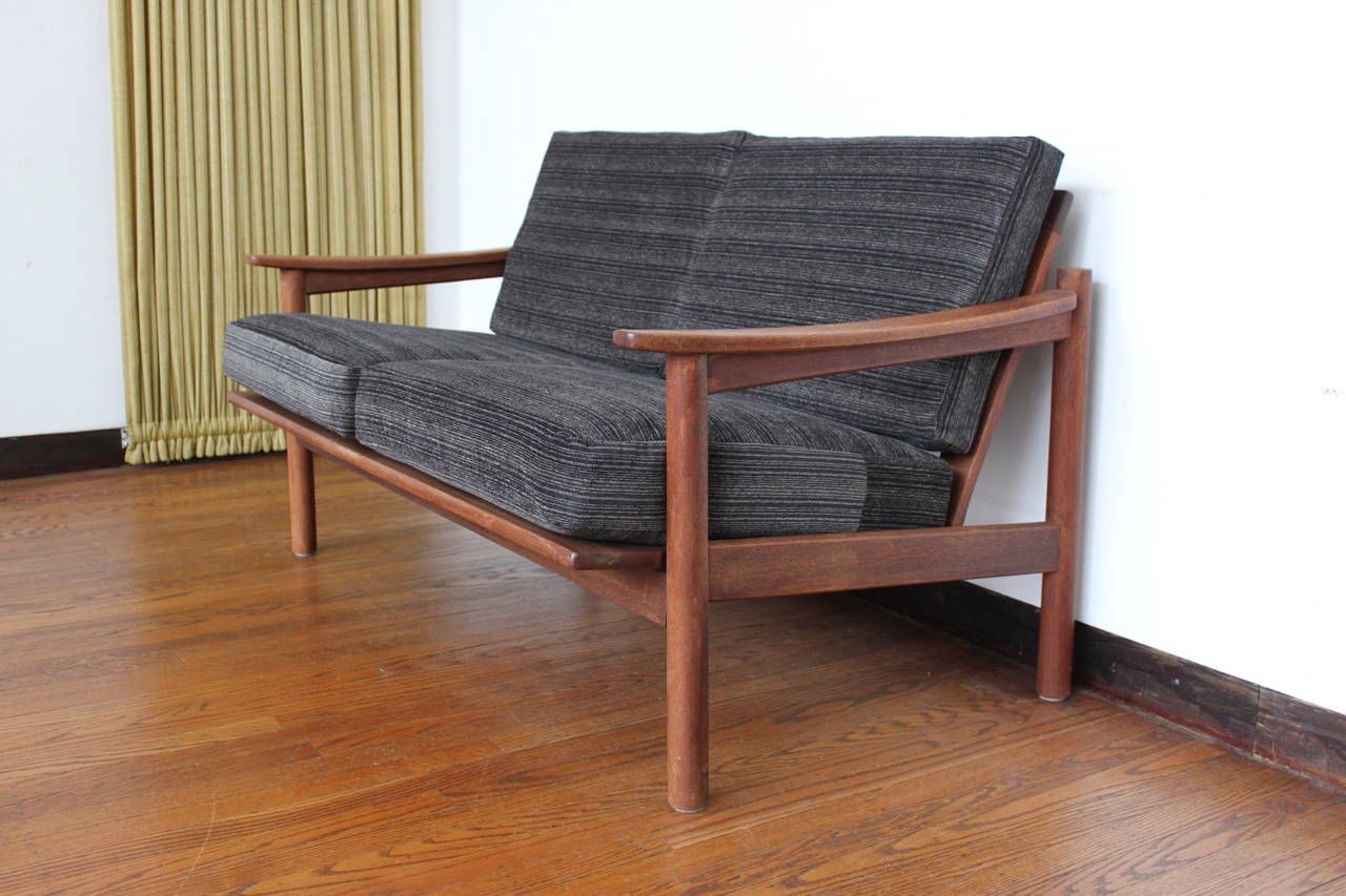 mid century modern danish teak loveseat sofa