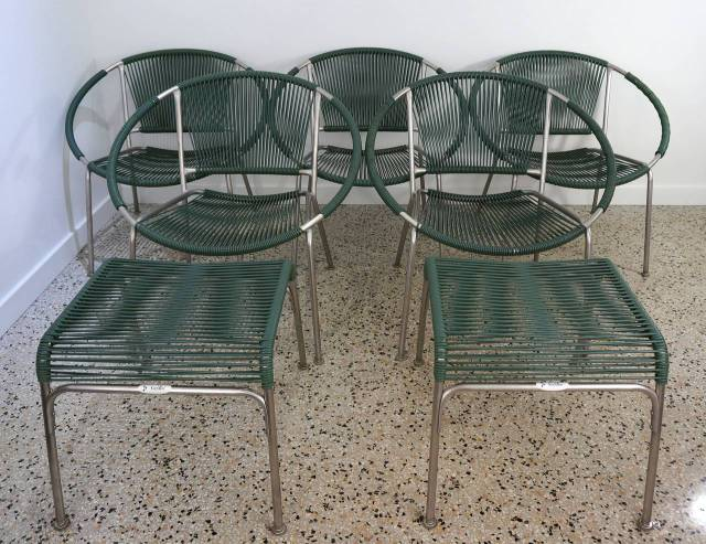 """set of five mid-century patio chairs with two ottoman """"surf line"""