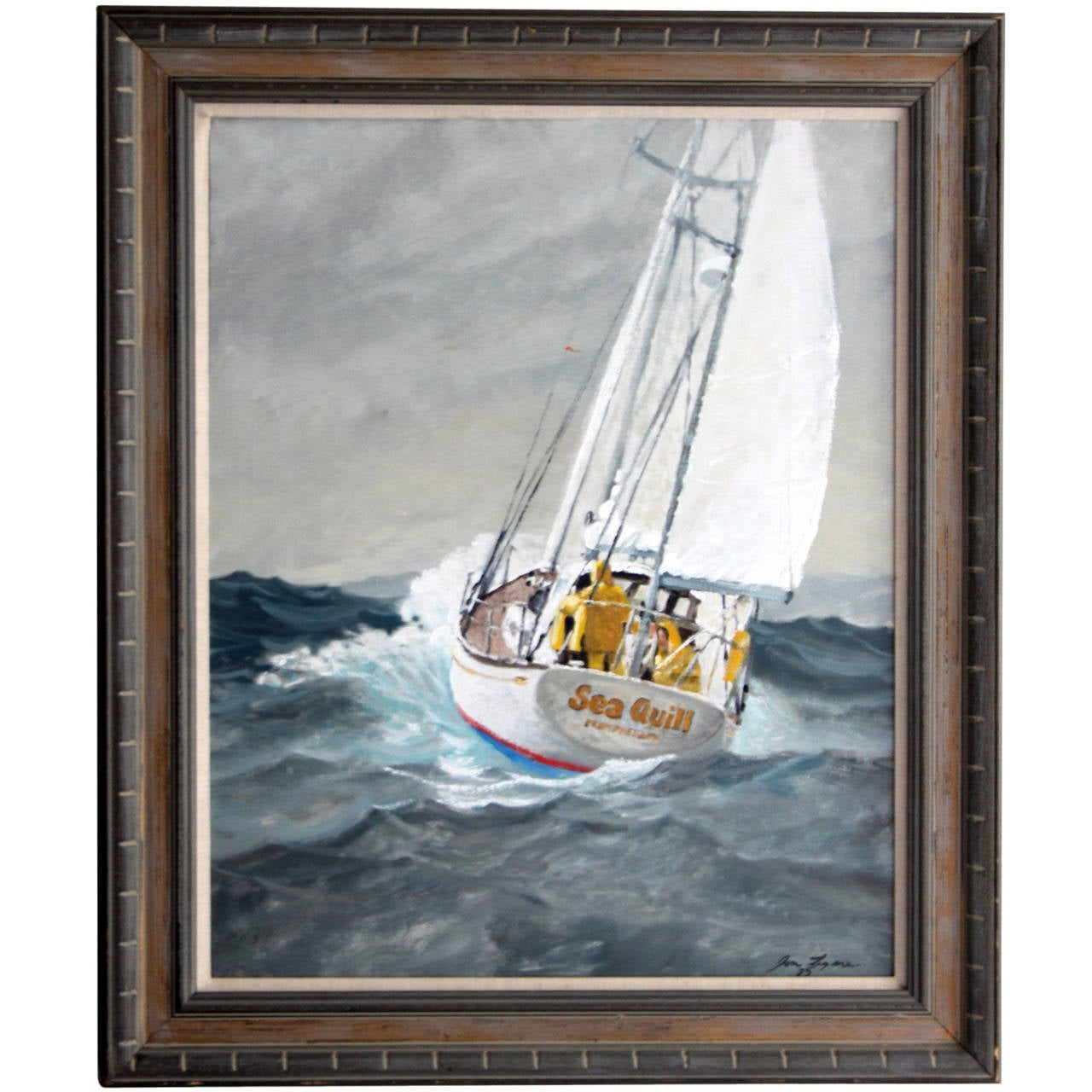 Sailboat At Sea Oil Painting On Canvas Sea Quill At 1stdibs