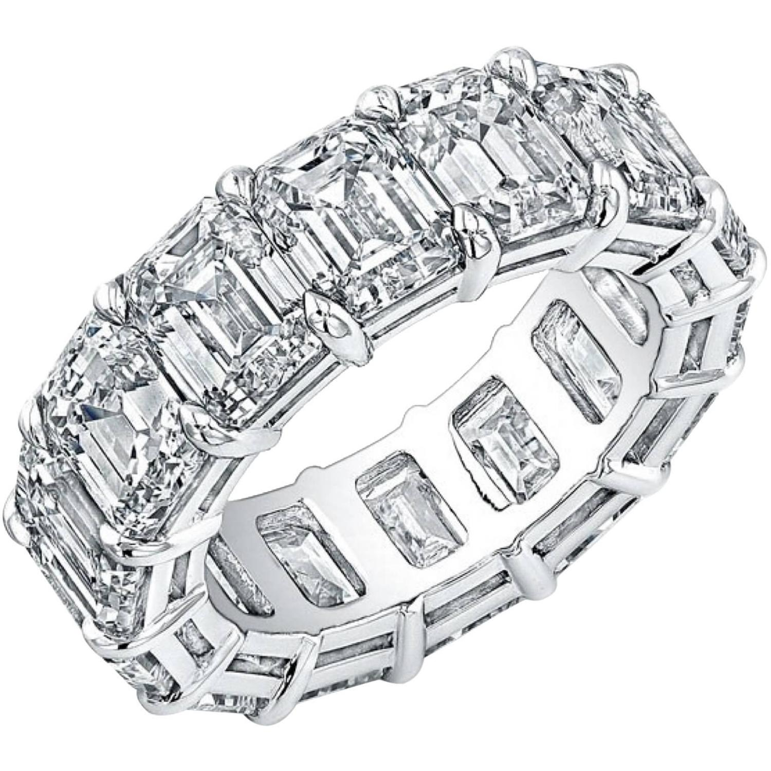 Emerald Cut Diamond Platinum Eternity Anniversary Band