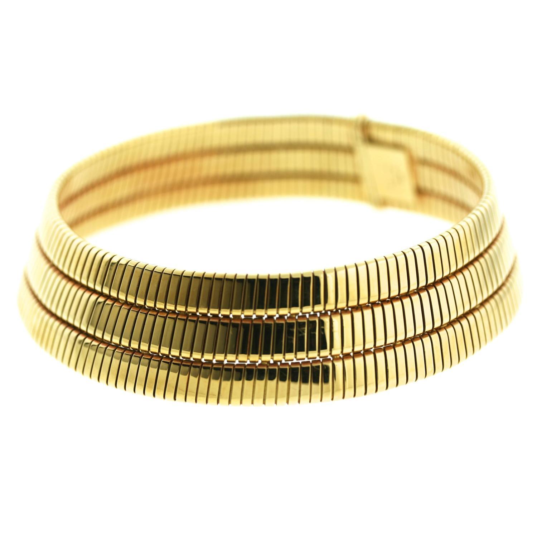 Bulgari Triple Row Gold Tubogas Choker Necklace At 1stdibs