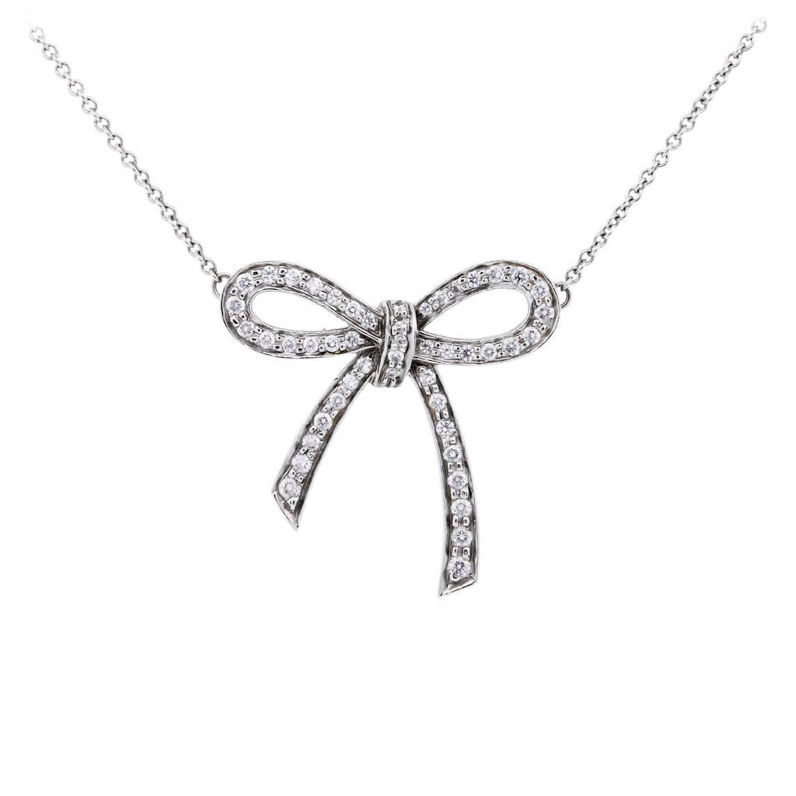 Tiffany And Co Diamond Platinum Bow Pendant Necklace For