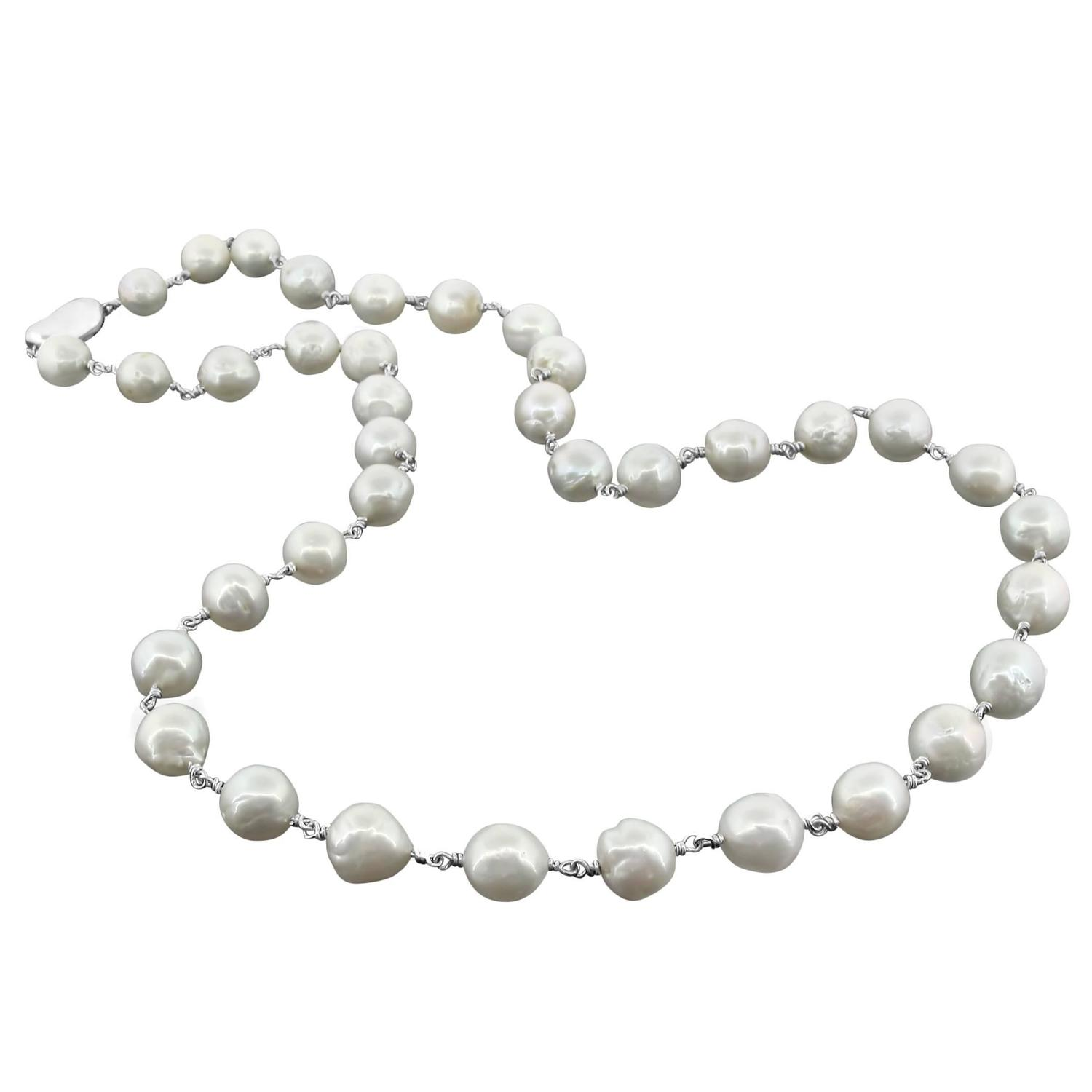 Freshwater Seed Pearl Sterling Silver Clasp Necklace For Sale At 1stdibs