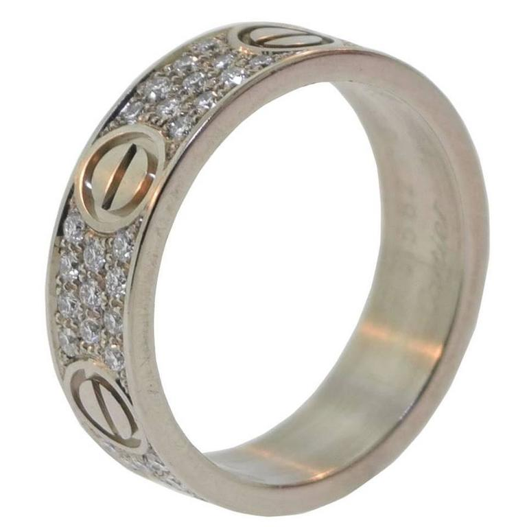 Cartier Diamond Pave Gold LOVE Ring And Wedding Band At